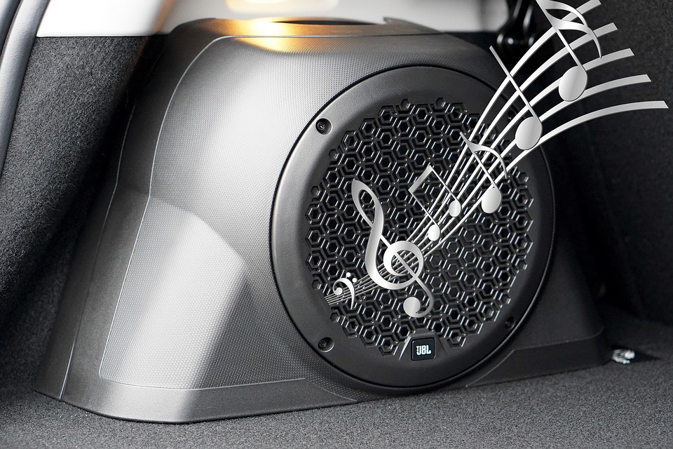 Can I Use Car Speaker For Home Audio? You'd be surprised. In this picture, a speaker is depicted playing music