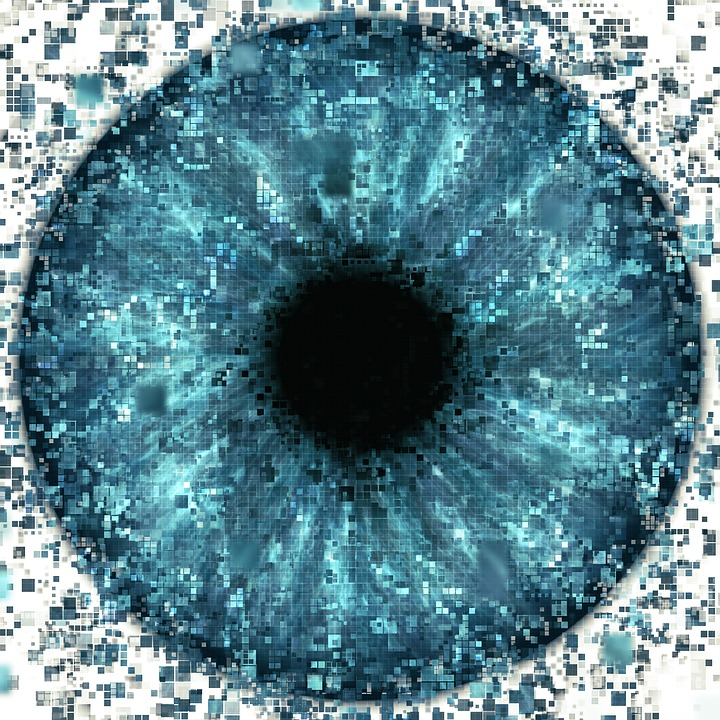 In this image, a large number of pixels combine to produce an eye with varying tones and shades.