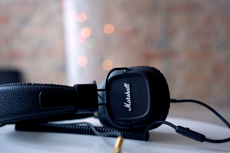a marshall headset in black