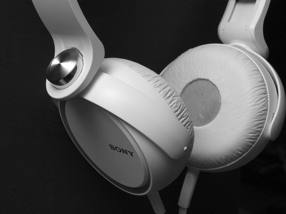 A pair of Sony earphones in white