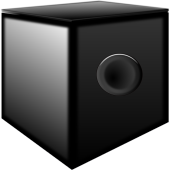 A picture of a black subwoofer with a single circular port