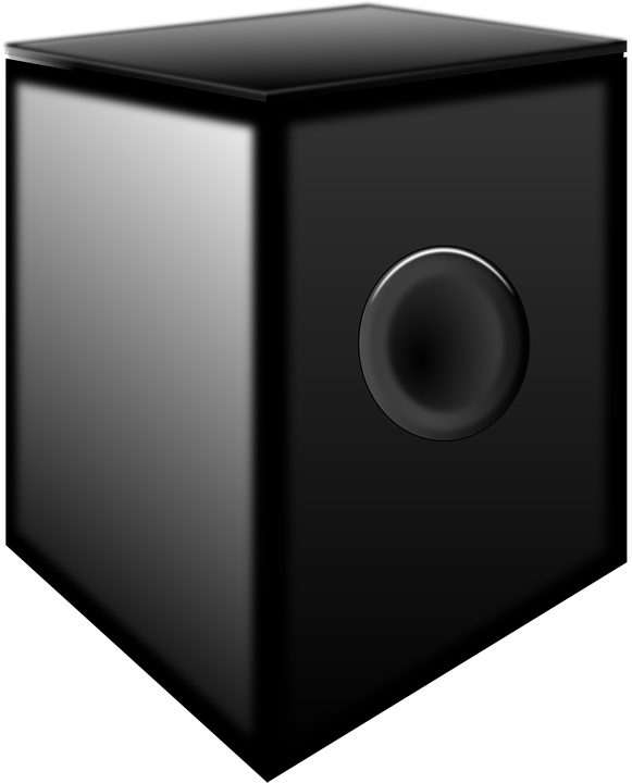 In this picture, a large subwoofer is shown.