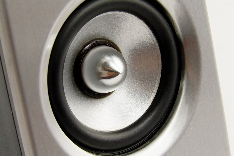 This is a picture of a metallic speaker driver