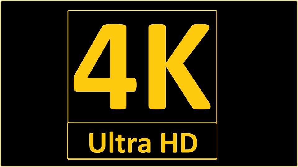 In this picture, a logo for 4k is shown