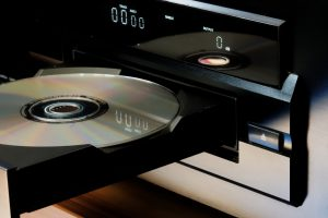 This is a picture of a CD in the disc tray of a CD player