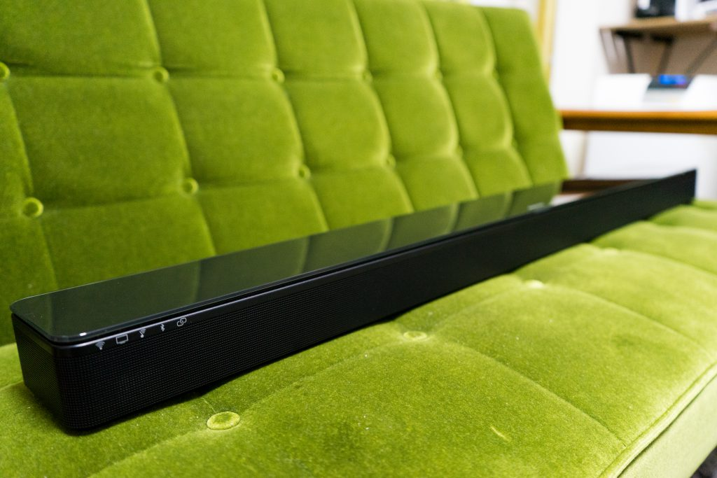 A picture of a sound bar sitting on a chair