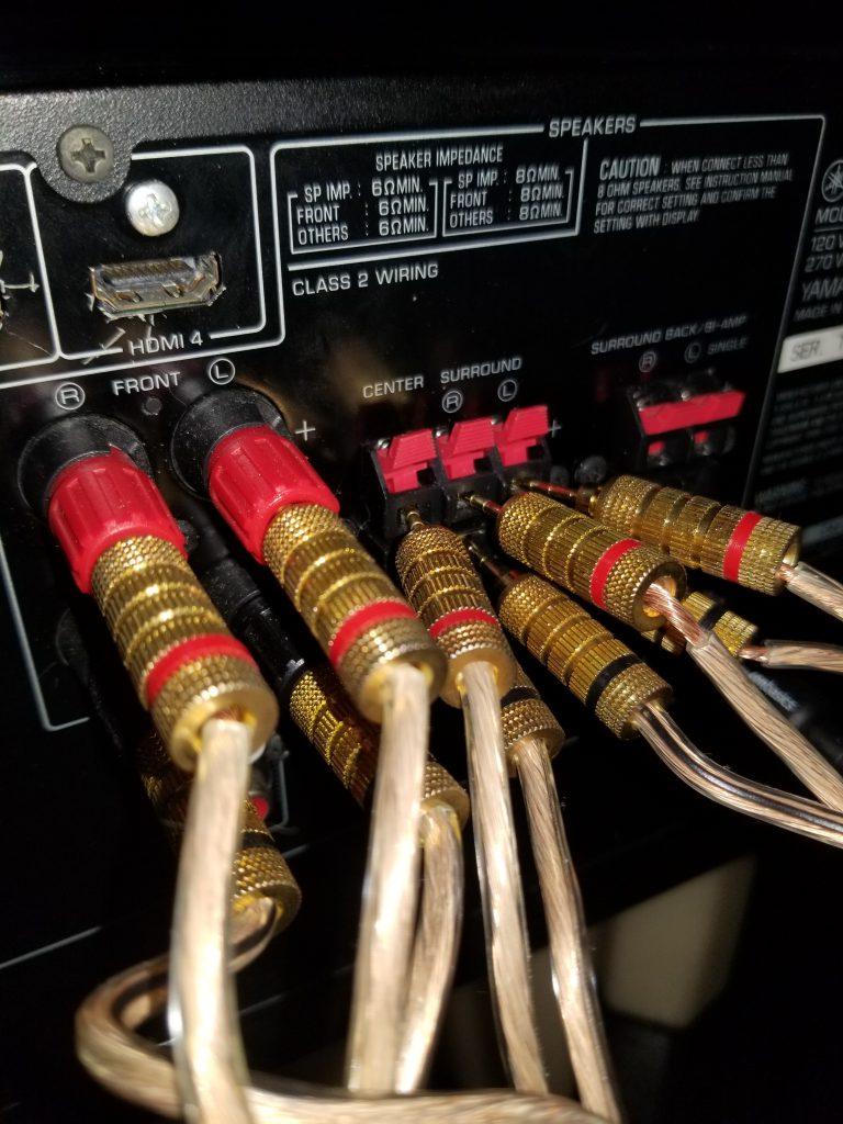 a picture of various wire connections on the back of a receiver