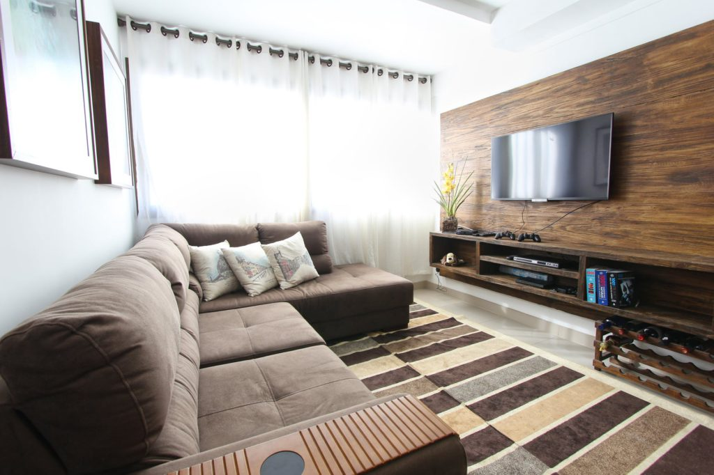 In this picture, a couch is shown. This is just one of many home theater seating ideas you can use.