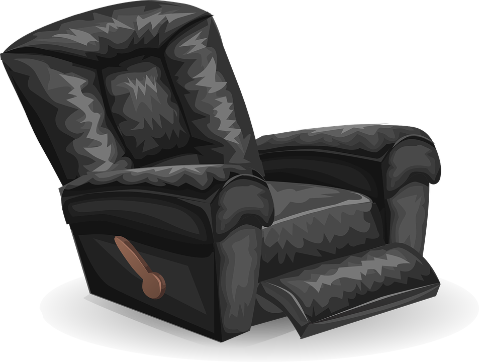 A picture of a black recliner