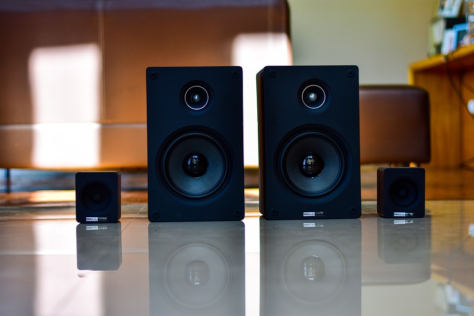 A picture of two bookshelf speakers