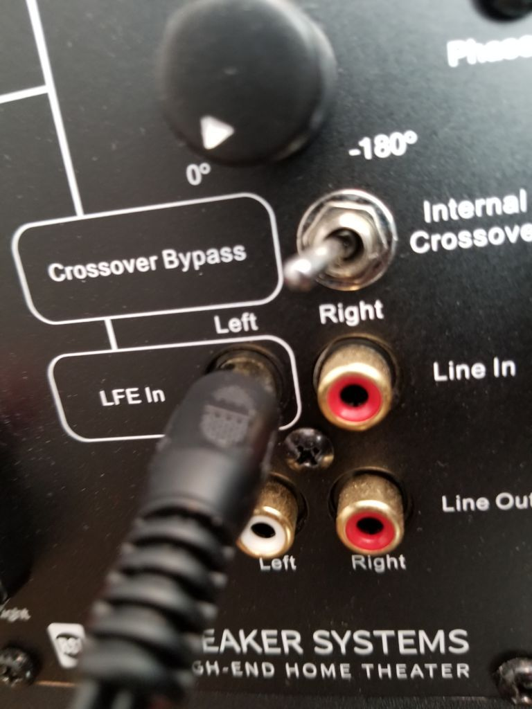 A picture of the LFE In input and phase control on the back of a subwoofer
