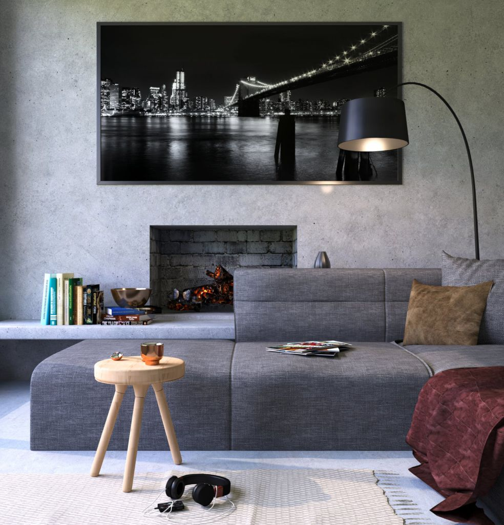 A picture of a dark grey couch