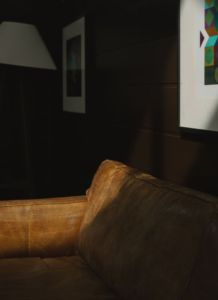 A picture of a dark brown room