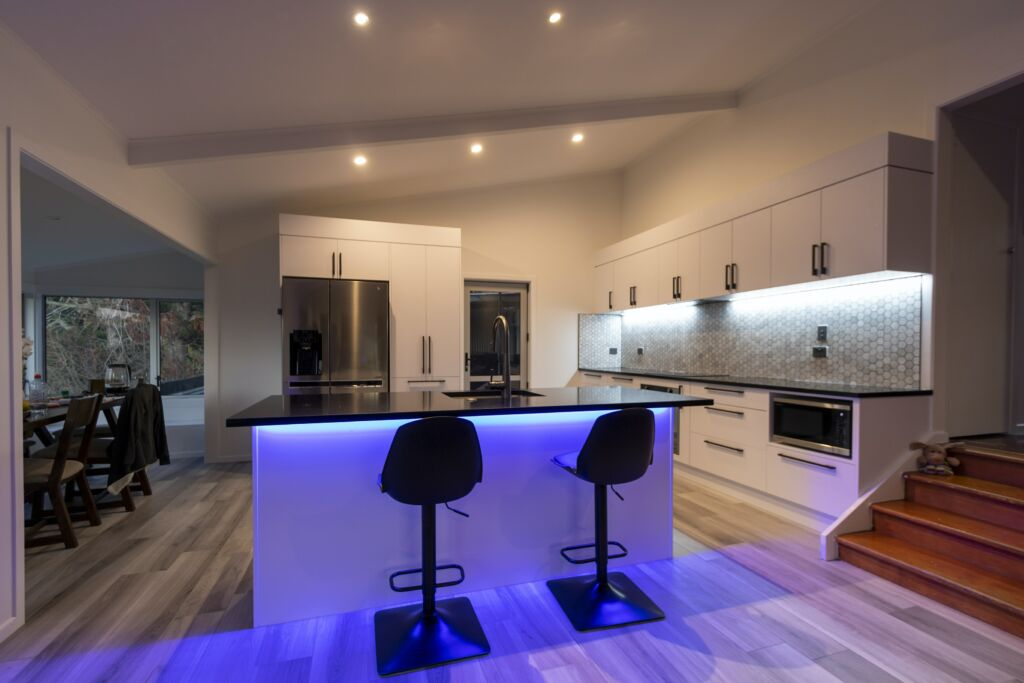 In this picture voice controlled ambient lighting is shown which is some of the smart home technology of the future.